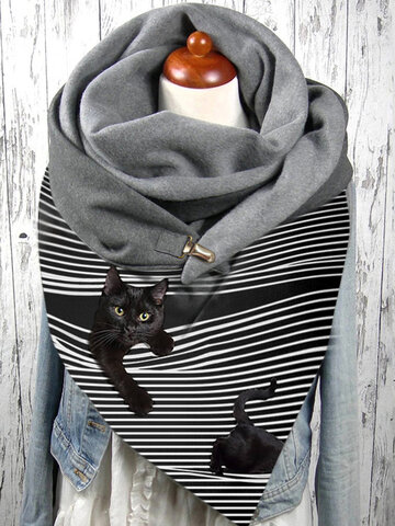Women Stripe Cute Cat Pattern Soft Scarf