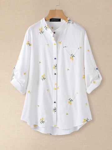 花刺繍長袖ブラウス