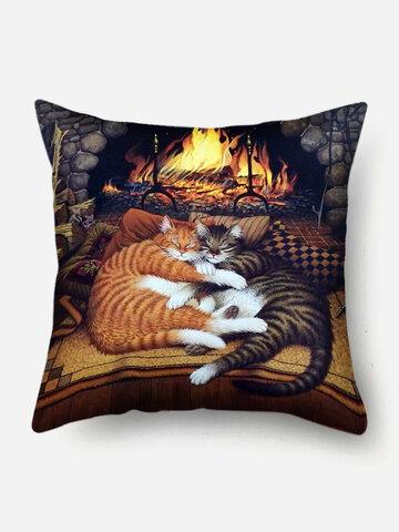 Gatti che dormono Modello Fodera per cuscino in lino Divano per la casa Art Decor Federa da tiro