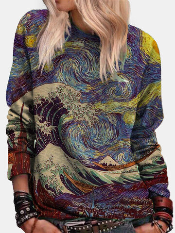 Landscape Printed Long Sleeve Sweatshirt