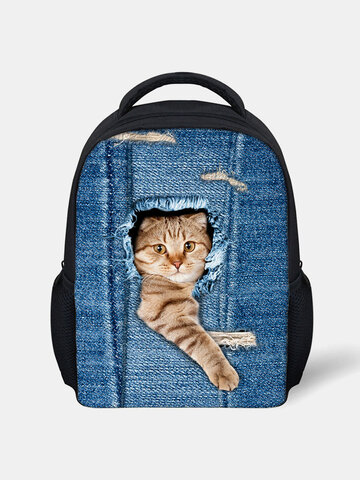 3D Animal Creative Cartoon Cute Cat Print Casual Style Backpack Schoolbag