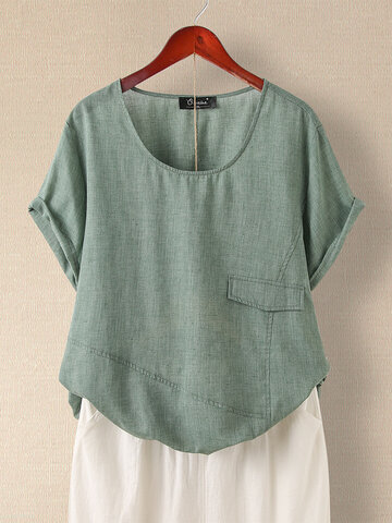 Casual Solid Color Patchwork T-shirt