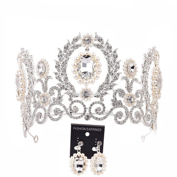 Baroque Crown Tiara Earrings Jewelry Set