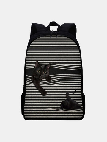 Oxford Black Cat Striped Pattern Printing Backpack