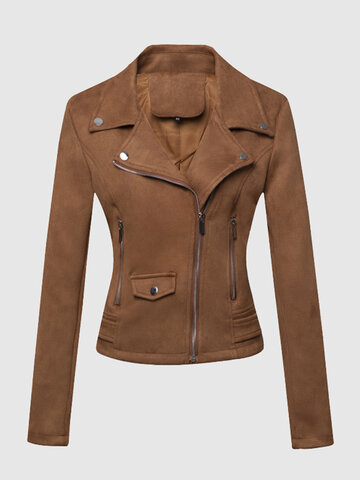 Women Suede Leather Bomber Jacket