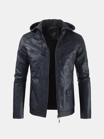 Men's Hooded Drawstring Leather Fleece Jacket