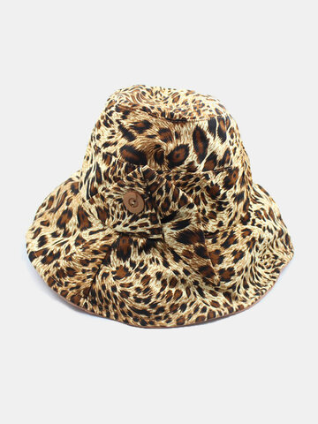 Leopard Pattern Fashion Button Beach Hat Bucket Hat Fisherman Hat