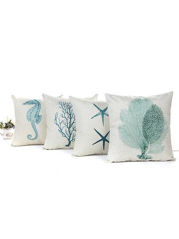 Blue Sea House Starfish Cotton Linen Cushion Cover