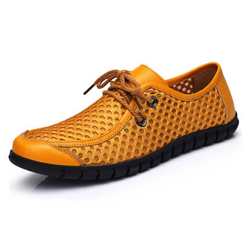 Men Breathable Honeycomb Mesh Loafers Soft Sole Outdoor Casual Shoes, Dark blue brown yellow