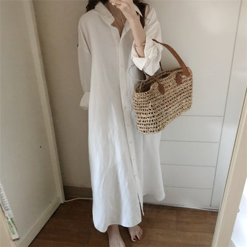 loose long section loose large size cotton shirt skirt