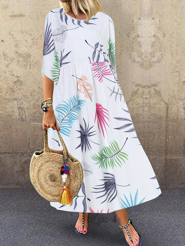 Multicolor Leaves Print Dress