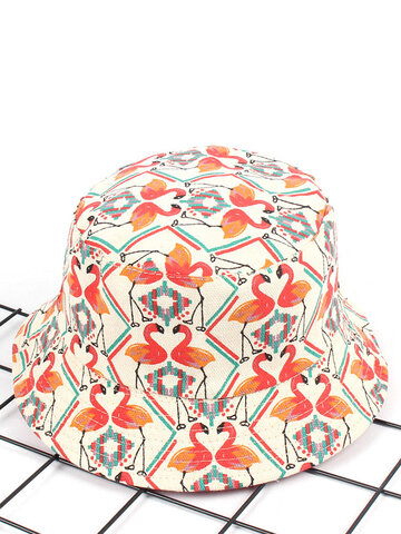 Women Print Flamingo Canvas Bucket Hat