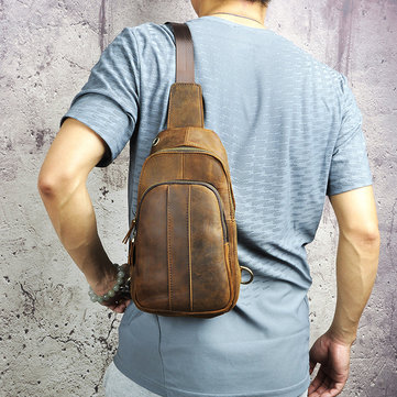 Genuine Leather Retro Outdoor Multi-functional Chest Bag