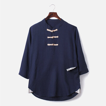 Chinese Style Linen Three-quarter Sleeve T shirt