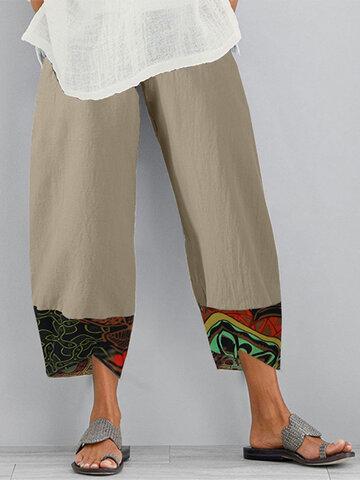 Vintage Print Patchwork Pockets Pants