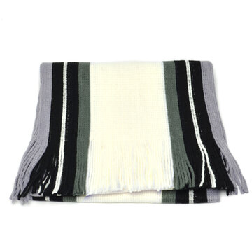 Mens Striped Knitted Warm Scarf