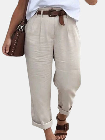 Pockets Solid Color Casual Pants