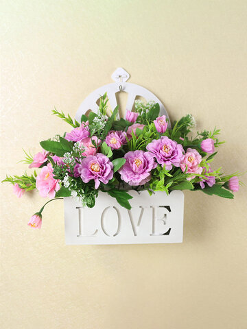 Simulation Flower Basket Fake Flower Set Hanging Wall Decor