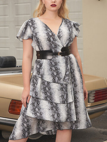 Snakes Print Tiered Layer Dress