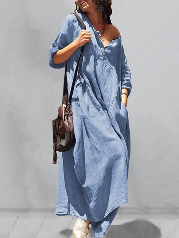 Casual Button O-neck Pleated Dress