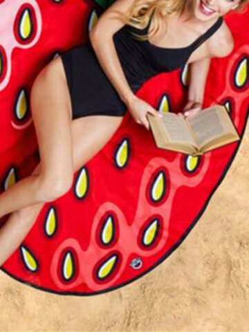 Women Summer Cartoon Fruit Strawberry Beach Towel Casual Travel Sunscreen Shawl Scarf