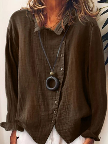 Button Lapel Solid Color Long Sleeve Casual SHirt For Women