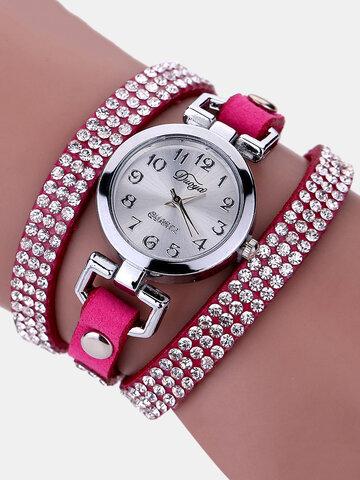 ファッションラインストーンレザー時計