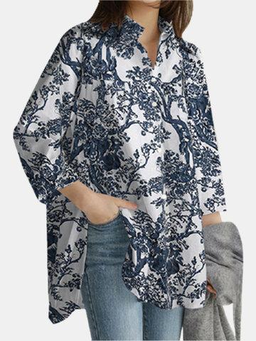 Print Lapel Linen Shirt