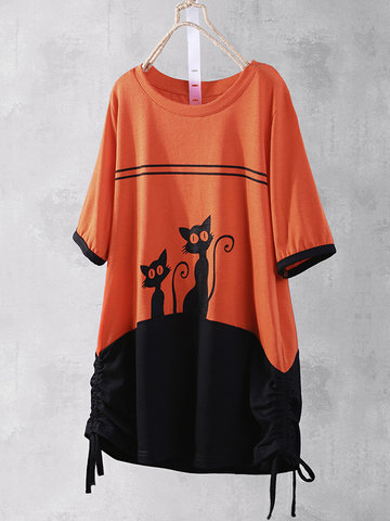 Kurzarm-T-Shirt mit Cartoon-Print