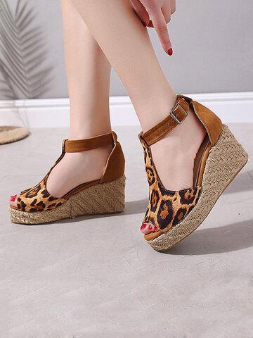 Hollow Buckle Leopard Platform Sandals