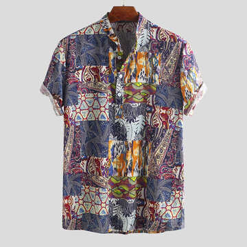 Ethnic Style Printed Loose Henley Shirts
