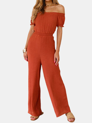 Solid Color Pleated Ruffle Jumpsuit