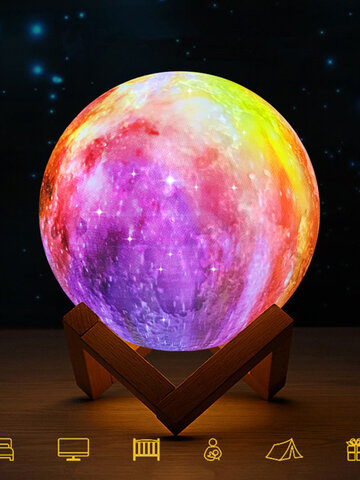 3D Printing Moon Lamp Space LED Night Light Remote Control USB Charge Best Gift