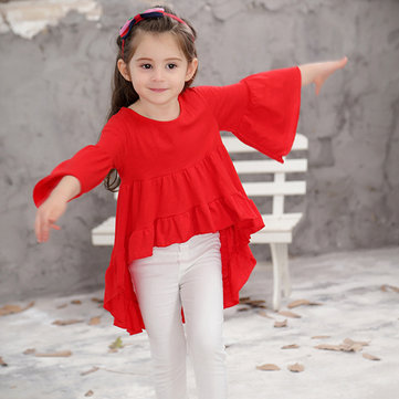 Solid Color Girls Flared Dress 2Y-11Y