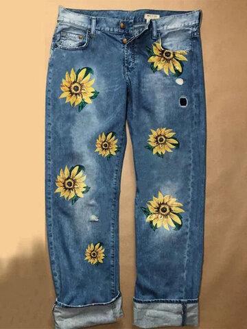 Sunflower Printed Loose Straight Pants
