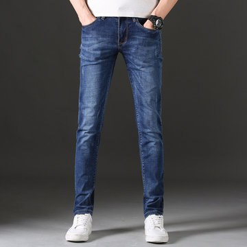 Thin Men's Stretch Jeans Slim Straight Youth Trousers Stretch Large Size Business Men's Pants Breeches фото