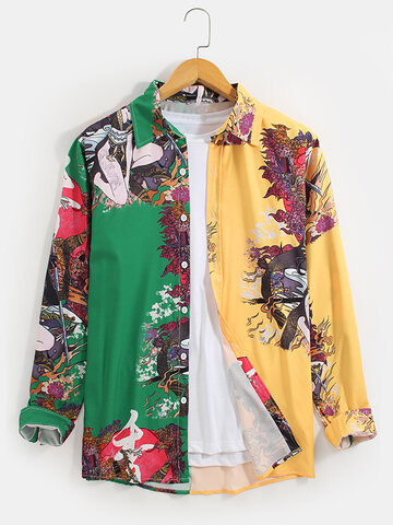 Contrast Patchwork Printing Shirts