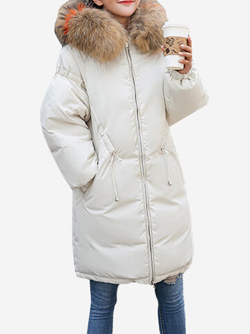Hooded Quilted Long Coat