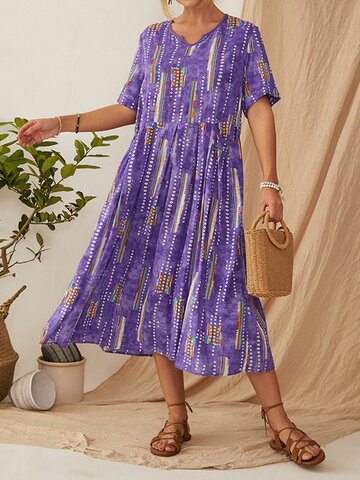 Vintage Print Casual Dress