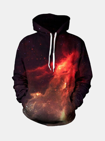 Mens Fashion 3D Colorful Printing Hoodies Zipper Slim Fit Casual Sweatshirt