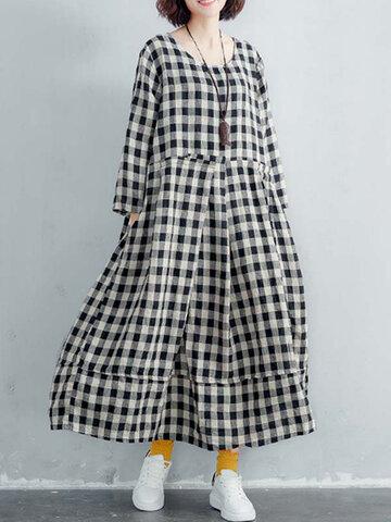 Vintage Plaid Crew Neck Plus Size Dress