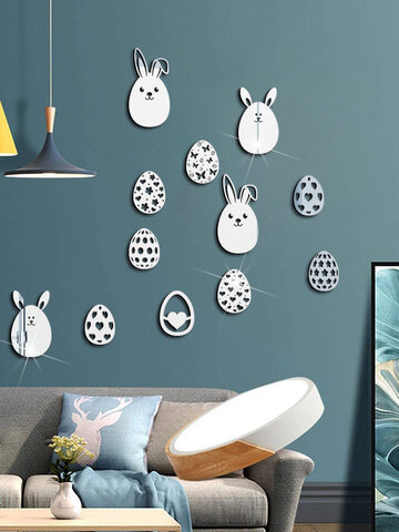 9PCS Acrylic 3D Easter Bunny Egg Pattern Mirror Sticker Vivid Self-adhesive Festival Decor Home Room Wall Stickers