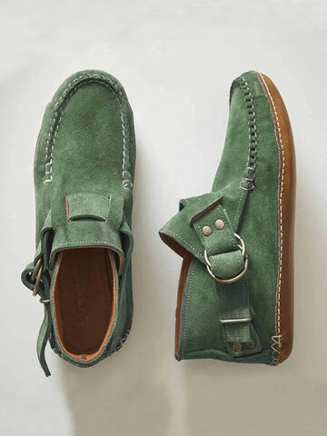 Suede Buckle Strap Stitching Ankle Boots