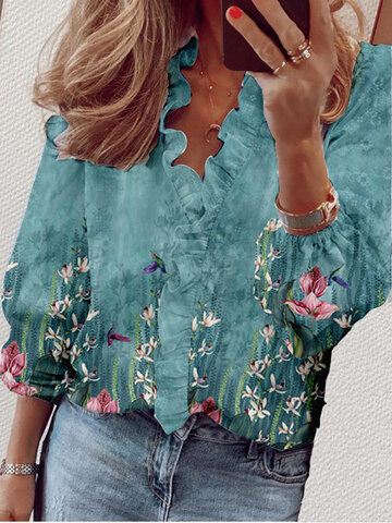 Calico Print Ruffled Neck Blouse