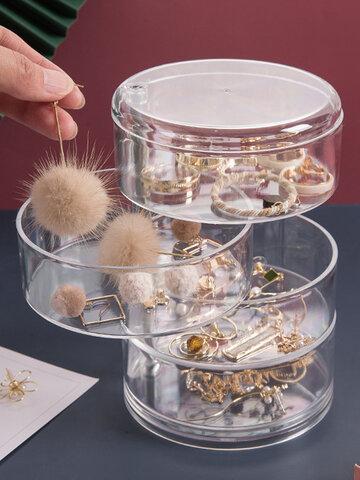 Multifunktionale transparente rotierende Schmuckschatulle Schmuckohrringe Handkette Staubdichte kleine Gegenstände Vierschichtige runde Schachtel