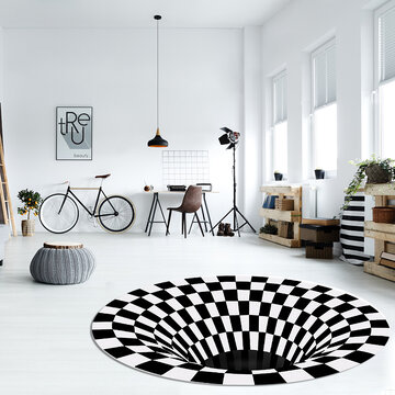 3D Round Carpet, Checkered Vortexs Optical Illusions Non Slip Area Rug, Durbale Anti-Slip Floor Mat Non-Woven Black White Doormat, for Living Dinning Room Bedroom Kitchen