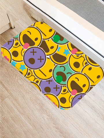 1PC Flannel Smile Cartoon Overlay Printing Anti-slip Home Decor Soft Mat Carpet For Door Gate Bathroom Kitchen Living Room