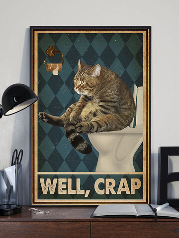 Cat In The Toilet Pattern Canvas Painting Unframed Wall Art Canvas Living Room Home Decor