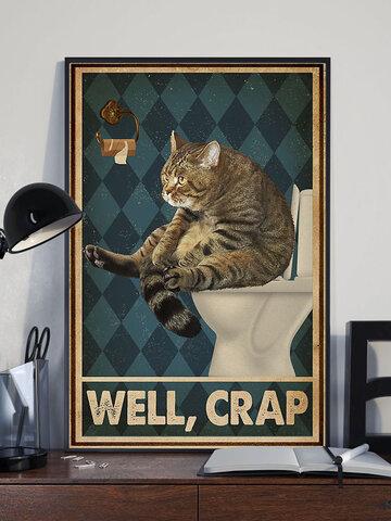 Katze in der Toilette Muster Leinwand Malerei ungerahmte Wandkunst Leinwand Wohnzimmer Home Decor