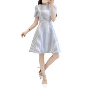 A Word Skirt Summer Was Thin In The Long Stripe Dress